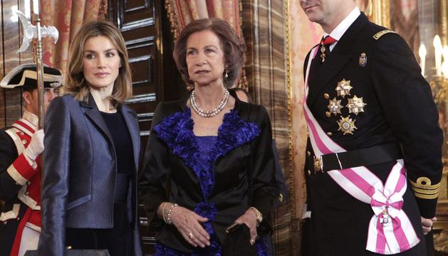 La Reina y los Príncipes de Asturias, en la Pascua Militar en 2012