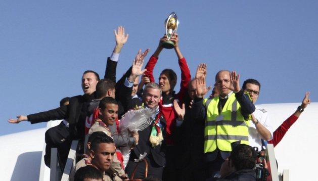 Javier Clemente, a su llegada al aeropuerto de Trípoli (Libia)