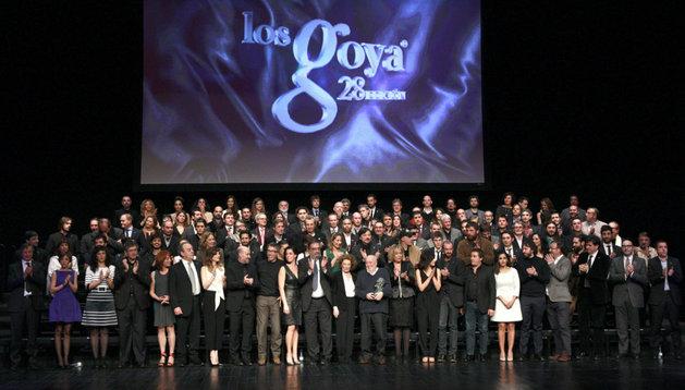 Foto de familia de los finalistas en la 28ª edición de los Premios Goya