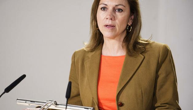 María Dolores de Cospedal, durante un evento público celebrado este jueves.