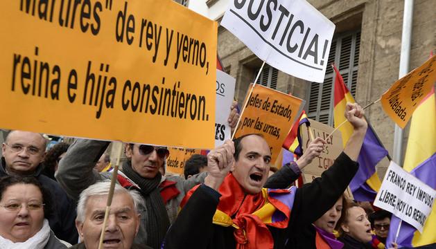 Manifestantes en las cercanías de los juzgados de Palma