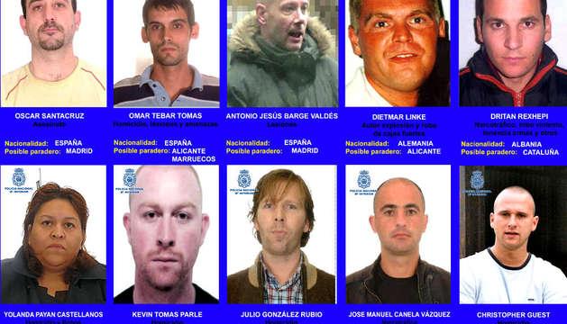 Los diez criminales buscados por la policía