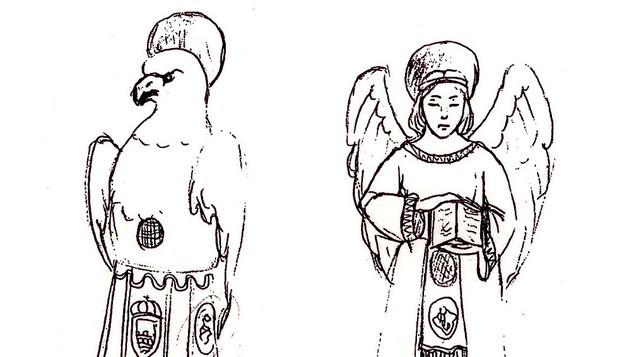 Boceto de las cuatro nuevas figuras dedicadas a los evangelistas