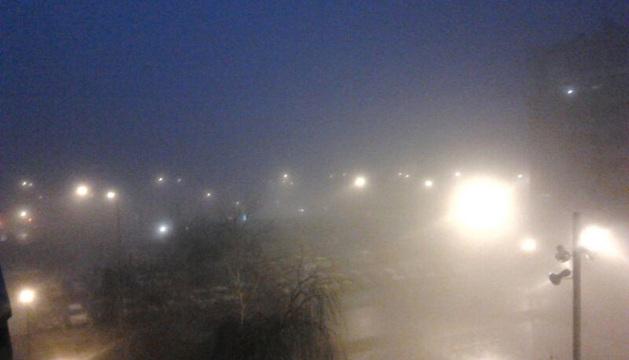 La niebla cubría gran parte de la Rochapea hacia las 7.30 horas.