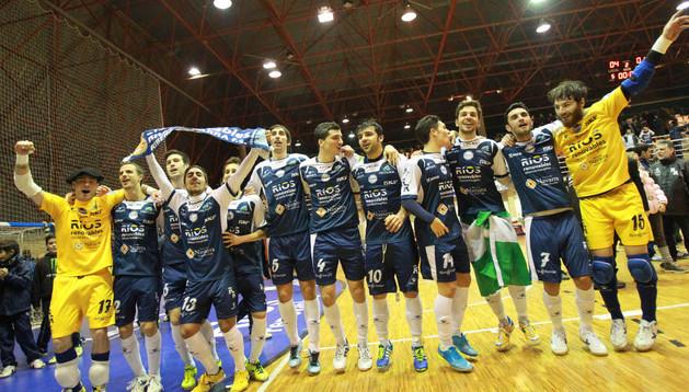 Los jugadores del Ríos celebran el pase a la Copa en el partido ante Montesinos Jumilla