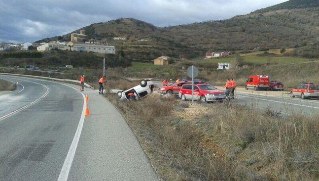 Imagen del accidente mortal en Morentin.