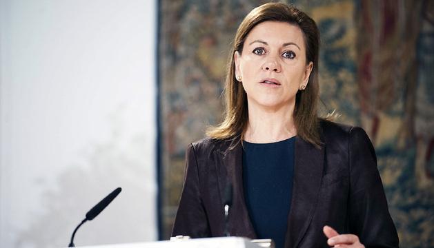 La presidenta de Castilla-La Mancha, María Dolores de Cospedal, durante la rueda de prensa de este sábado