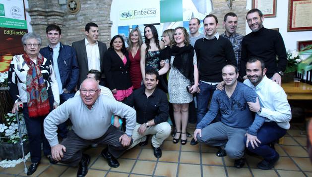 Responsables y trabajadores de la empresa Entecsa, durante la celebración del 20 aniversario de la fundación de la firma tudelana