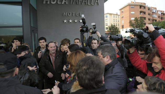 Yolanda Barcina, a su llegada al Hotel Hola de Tafalla
