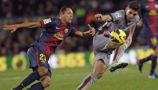 Álvaro Cejudo y Adriano, en el Camp Nou la pasada temporada