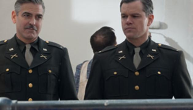 Escena de Monuments men, con Geroge Clooney y Matt Damon