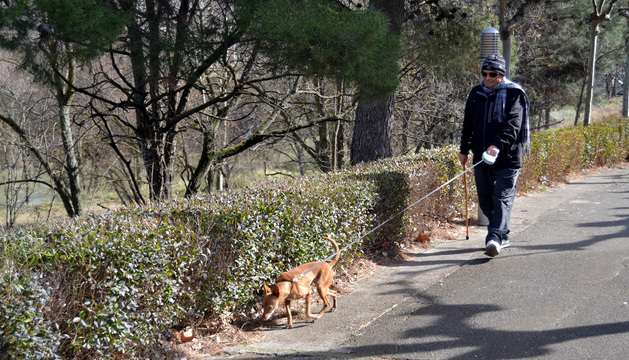 Un vecino pasea con su perro junto a la orilla del Ega