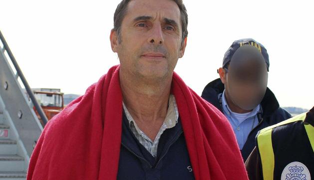 El presunto etarra Juan Jesús Narváez Goñi, alias Pajas, a su llegada esta semana a España tras ser detenido en México.