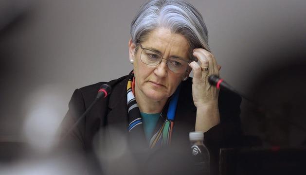 La vicepresidenta y consejera de Economía, Lourdes Goicoechea, durante su comparecencia de este lunes