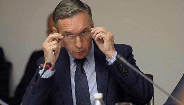 Pedro Ugalde, durante su comparecencia.
