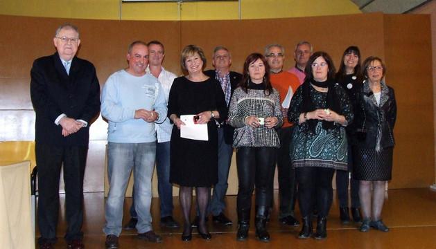 Los homenajeados en fiesta anual de la delegación de Adona en Castejón