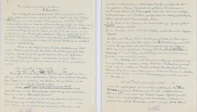 Fotografía del documento de Einstein en el que estudió una alternativa  a la teoría del Big Bang