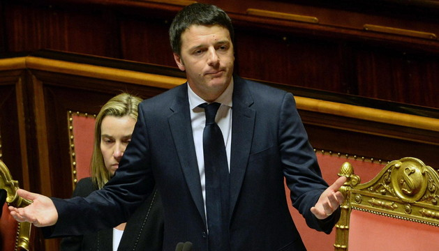 Matteo Renzi, durante la sesión este lunes en el Senado italiano