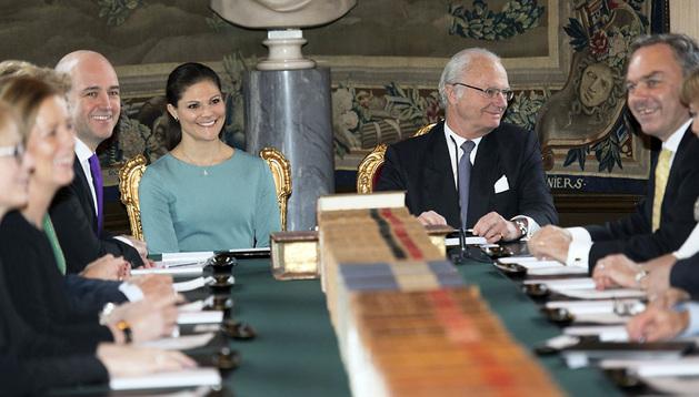 La princesa Magdalena y el rey Gustavo de Suecia, en el momento del anuncio