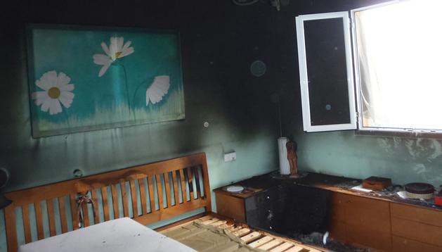 Estado en el que quedó la habitación en la que se originó el incendio