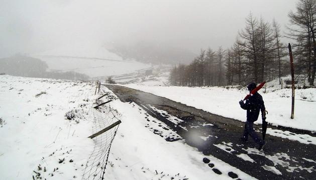 Imagen de una nevada caída esta semana en el Alto de Ibañeta