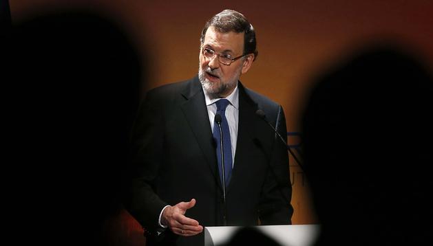 El presidente del Gobierno, Mariano Rajoy, durante su intervención en