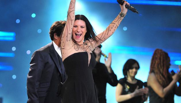 Laura Pausini durante su actuación en el Festival de Viña del Mar