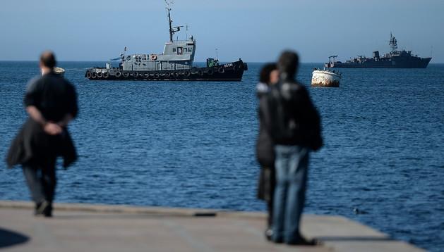 Vista de la flota rusa en Sebastopol