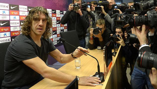 Carles Puyol en la rueda de prensa en que anunció su retirada
