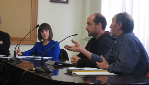 Charo Cía, Koldo Abrego y Joseba Gil en la sesión de ayer