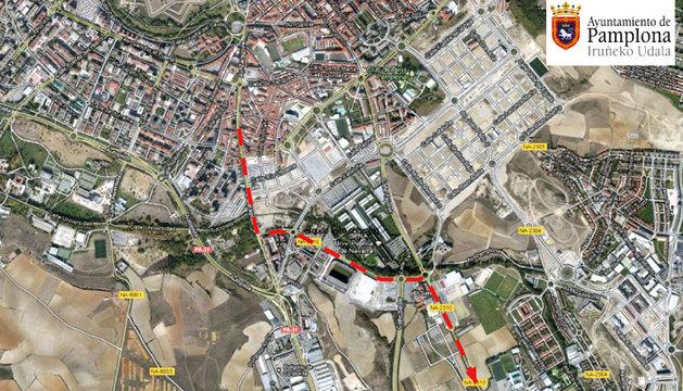 Mapa con el itinerario de la salida de Pamplona en la Javierada 2014