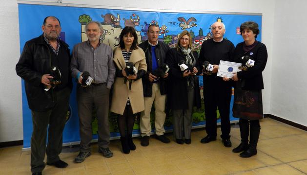 Los alcaldes de Marcilla, Carcastillo, Milagro, Falces, Villafranca y Mélida, y Eva García Balaguer, de Crana