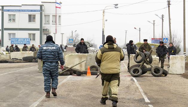 Imagen cedida por la OSCE del punto fronterizo donde realizaron disparos de advertencia a su llegada