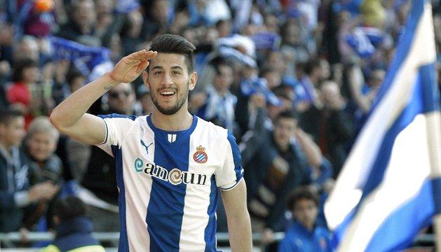 Pizzi celebra el tercer gol del Espanyol