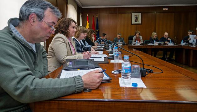 Los 17 concejales acudieron al último pleno este jueves. En la imagen, Chasco (Aralar), Unzué (PP) y, a partir de ahí, todo el grupo de UPN