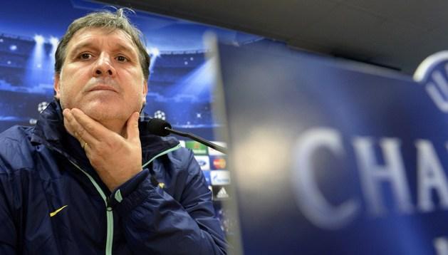 Tata Martino, durante la rueda de prensa previa al Manchester City