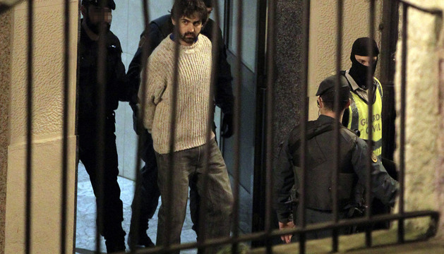 Momento de la detención de Asier González Soreasu en Bilbao.