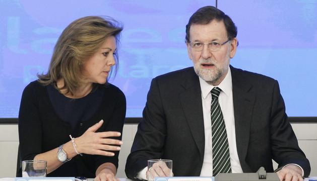 Mariano Rajoy en una reunión con los presidentes provinciales e insulares del PP, junto a Cospedal
