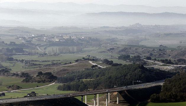 Vista desde el alto de El Perdón de la Autovía del Camino.