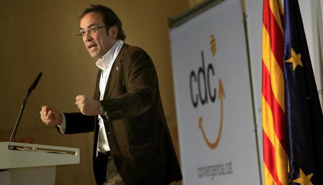 El secretario de organización de CDC, Josep Rull, durante su intervención en la primera jornada de la Convención Nacional de CDC