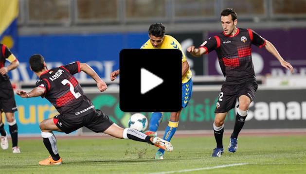 Masoud, durante el partido ante el Sabadell