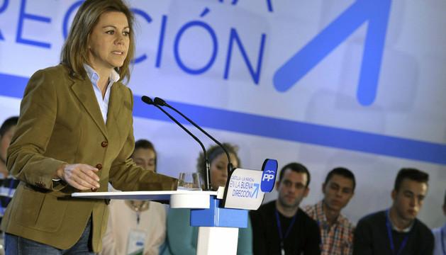 La presidenta de Castilla-La Mancha y secretaria general del PP, María Dolores de Cospedal, durante la clausura de la convención del partido en la región, en la que está previsto que se apruebe el programa electoral del PP castellanomanchego para las elec