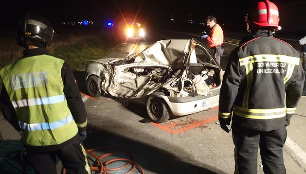 Imagen del accidente ocurrido en el cruce próximo a Castejón