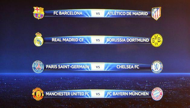 Cuadro de los emparejamientos de cuartos de final de la Liga de Campeones 2013/2014
