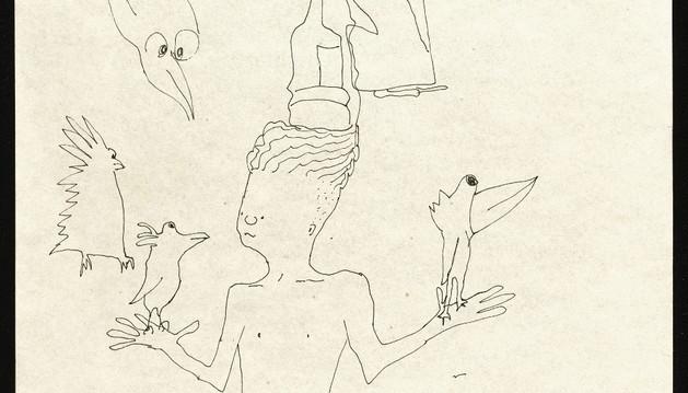 La obra 'Ilustración sin título de un chico con seis pájaros', de John Lennon