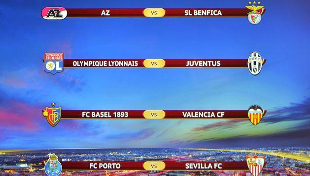 Emparejamientos de cuartos de final de la Liga Europa tras el sorteo celebrado en Nyon (Suiza)