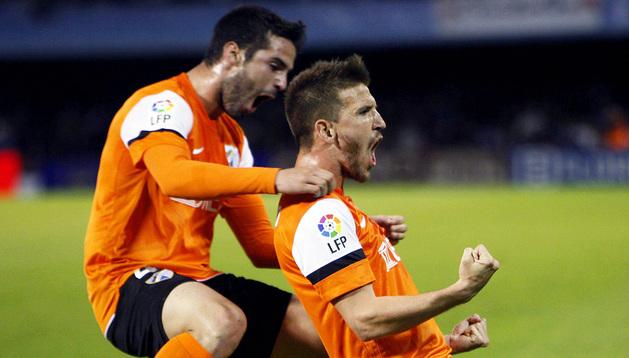 Ignacio Camacho celebra uno de sus goles al Celta
