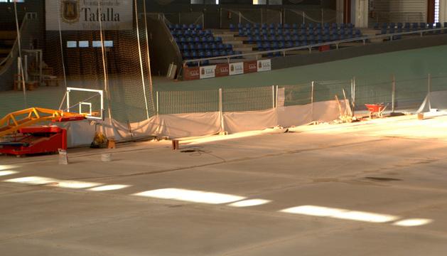 Estado de los trabajos de reparación de la pista, en una foto tomada el jueves