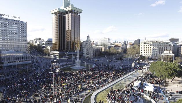 La manifestación, en la plaza de Colón