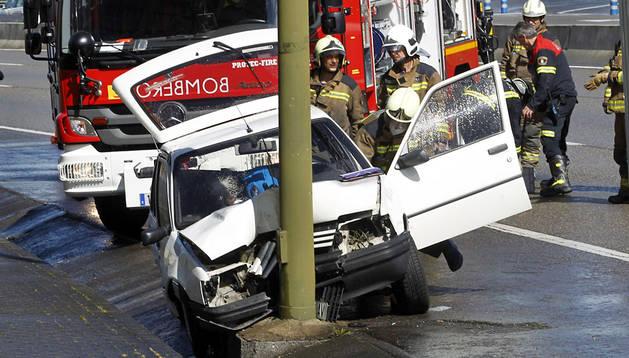Imagen de un accidente ocurrido en Oviedo, donde falleció una mujer.
